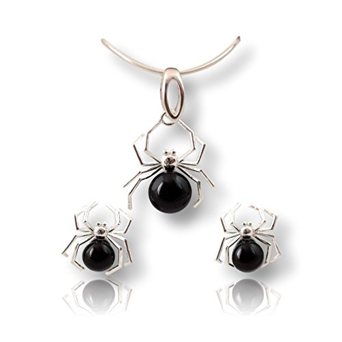 Crystals & Stones Pearls * black * * Spider * Jewellery Set Earrings and Necklace made with Swarovski ElementsA Fabulous Jewellery Ladies Elegant Schmuscketui Pin/75