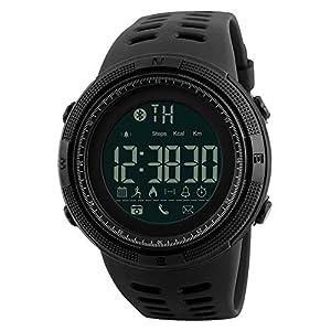 Herren Digital Armbanduhr, Sport Wasserdicht Armbanduhr Military Casual Elektronischer Uhren mit Alarm Kalender Stoppuhr – Schwarz