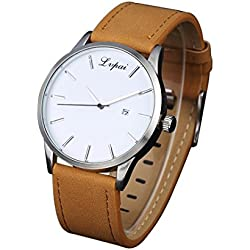 hunpta® Luxury Women's Men's Watches Analog Quartz Leather Sport Wrist Dress Date Watch (Brown)
