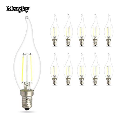 MENGJAY 10er Pack 2W E14 LED Kerzenform Filament E14 Classic Glühfaden 15 Watt-Ersatz, LED Kerzen Lampe (Kaltweiß 6000K) (10-licht Classic Kronleuchter)