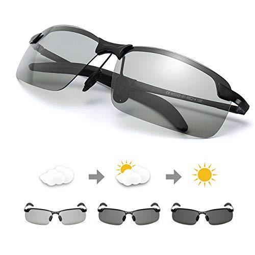 TJUTR Polarisierte Sonnenbrille Photochromatisch für Herren Sports 100% UV 400 Schutz Metallrahmen Leicht für Autofahren (Schwarz/Grau)