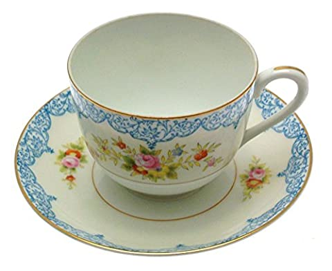Noritake Blue and Yellow Floral Cup and Saucer by Blue and Yellow Floral