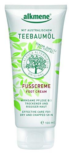 alkmene Teebaum?l-Fu?creme, 6er Pack (6 x 100 g) - trockene, rissige Haut Fu?pflege, Foot Cream - vegan, ohne Silikone, Mineral?le