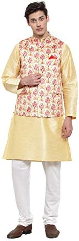 NEUDIS by Dhrohar Silk Blend Long Kurta Churi Pajama & Satin Nehru Jacket Set For Men - Beige &