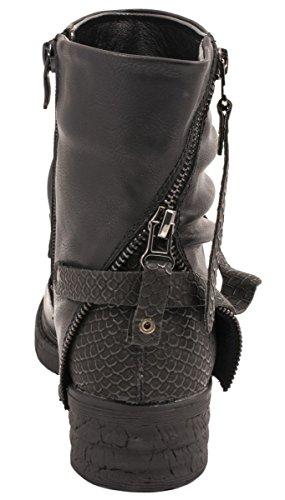Elara Damen Stiefeletten | Kurzschaft Biker Boots | Krokodillederoptik Schwarz