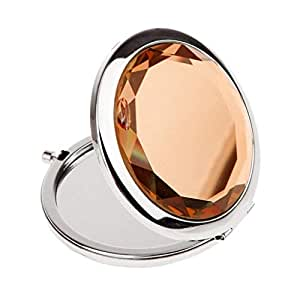 we3 Makeup Compact Mirror - Double Sides Portable Foldable Pocket Mirror Metal for Women - Round Crystal Make-Up Mirror Cosmetic Mirror (pink)