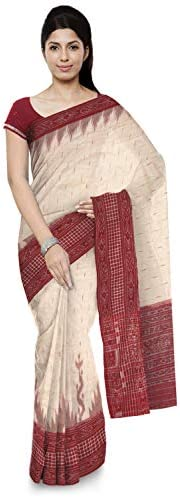 ODISHA HANDLOOM Women's Sambalpuri Cotton Saree Without Blouse Piece (o 53_Off-Wh