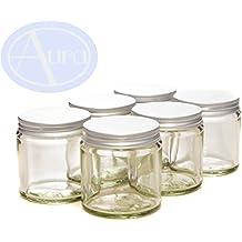 6 tarros para mezclas y cremas de aromaterapia - Tapas plateadas - Cristal transparente - 120 ml