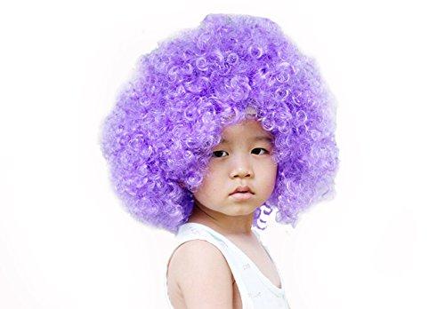Kostüm Bunt Lockig Afro Clown Perücke Party Perücke Zubehör Lila (Lila Afro Clown Perücke)