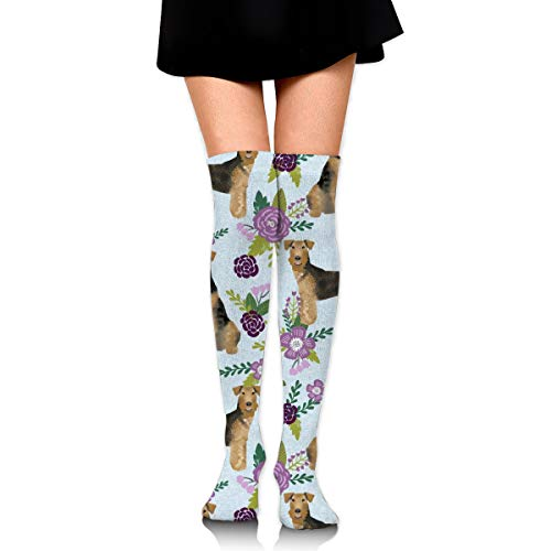 Knee High Socks Airedale Terrier Dog Breed Pet Quilt C Quilt Floral Coordinates Dog 23.6 Inchs(60cm) Compression Sock Stockings For Women/Girls Fuzzy-ski