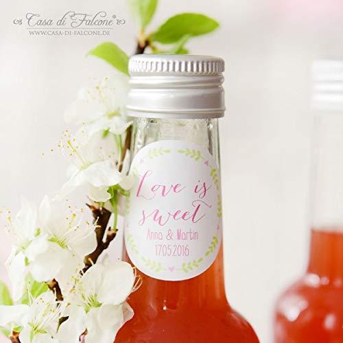 Personalisierte Hochzeitsaufkleber mit Name + Datum, Ranke | Mit deinem Wunschnamen/Wunschtext | 40mm, rund | 20, 50, 100, 200 oder 1.000 Stück