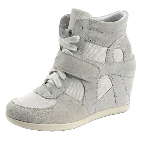 rismart Donna Zeppa in Cima Cuneo Lavoro Informale Lacci Fibbia Sneaker Scarpe(Grigio,EU39)