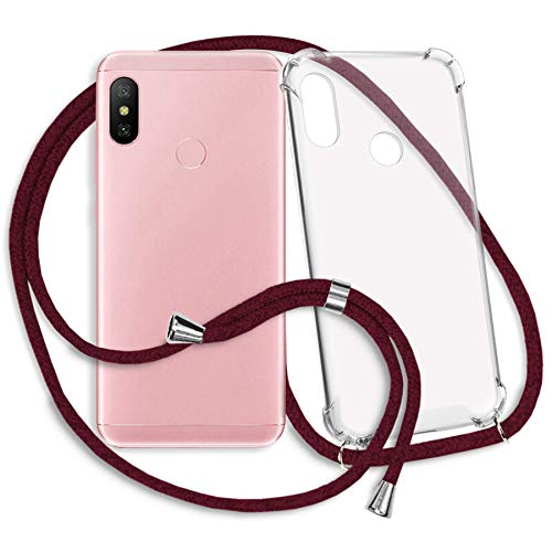 mtb more energy® Smartphone Necklace for Xiaomi Redmi Note 6 Pro (6.26'') - dark red - Neck-wearable protective cover - Crossbody Lanyard TPU Case