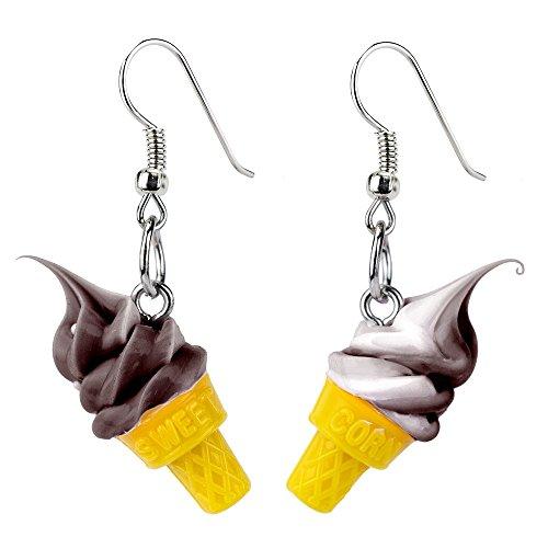 Kegel Für Eis (Drop Ohrring Eis Kegel (Schokolade) mit Kunstharz hergestellt von Joe Cool)