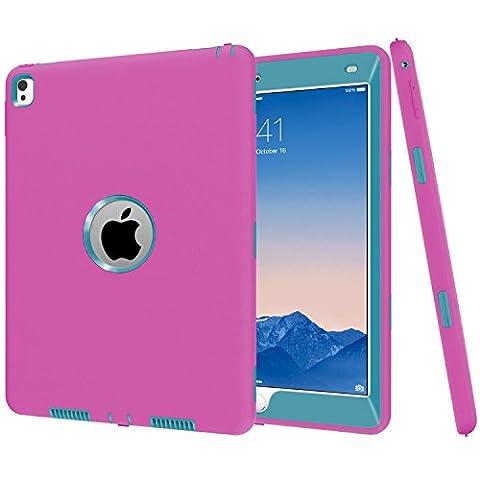 iPad Pro 24,6cm Coque, MS Jumpper Heavy Duty Coque amortissement haute résistance aux chocs Armour Defender Coque pour iPad Pro 24,6cm 2016 For iPad Pro 9.7 Rose Teal