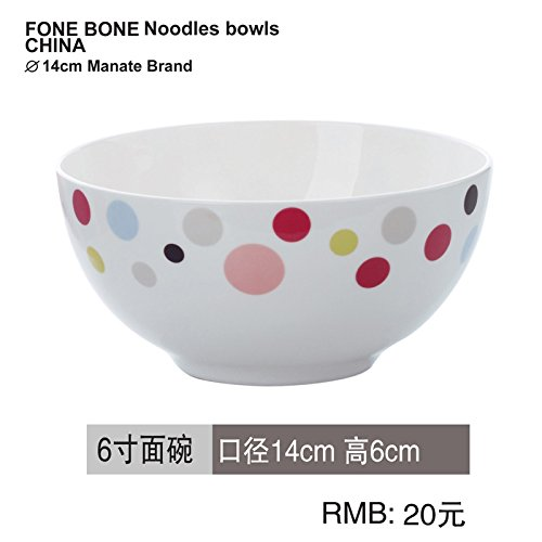 YUWANW Bone China Geschirr Einzelne Drogen Porzellan Geschirr Hochzeit Verpackt Koreanische Gerichte Gericht Sets, 6-Zoll - Schüssel - Wave Point Wave Rice Bowl