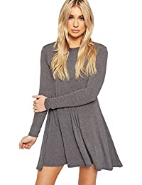 48422177c99 Red Olives Womens Ladies Plain Jersey Bang Tartan Print Long Sleeve Party A  Line Skater Flared Swing Dress…
