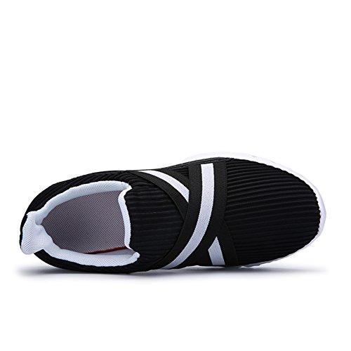 YIRUIYA Herren schnelltrocknend Aquaschuhe Atmungsaktiv Wasserschuhe Walking Sneakers Sportschuhe Schwarz