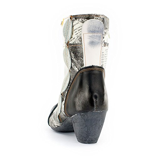 TMA SEELENlook Damen Stiefeletten, Echtleder, Farbvarianten, Größen 36-42/43 Weiß-Schwarz