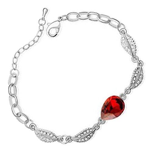 GWG® Pulsera Brazalete Chapada en Plata de Ley Gota de Agua Cristal Central Rubí Rojo con Diseño de 4 Hojas para Mujeres