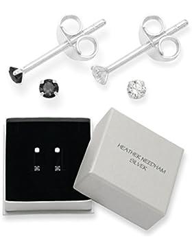 2 Stück Paar Sterling-Silber 925 Zirkonia Ohrstecker Ohrringe-Größe: 2 mm, sehr klein Klein und diskret, Jet,...