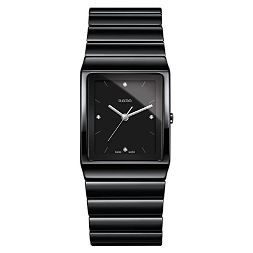 Rado Women's Ceramica Diamond Black Ceramic Case Quartz Analog Watch R21700702