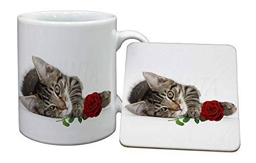 Advanta - Mug Coaster Set Tabby -Kätzchen-Katze mit roter Rose Becher und Untersetzer Tier Weihnachtsgesch -