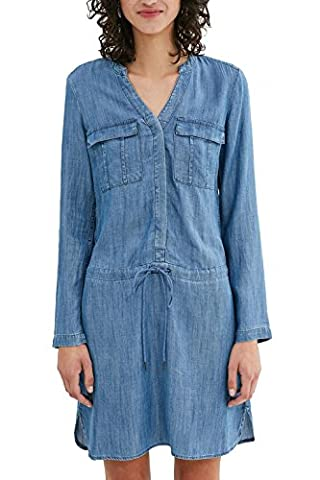 edc by ESPRIT Damen Blusen Kleid 037CC1E009, Knielang, Gr. 36 (Herstellergröße: S), Blau (BLUE MEDIUM WASH (Jeans Kleid)