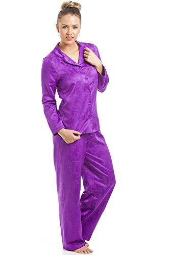 Camille - Damen Schlafanzug aus Satin mit Blumenmuster - violett Violett
