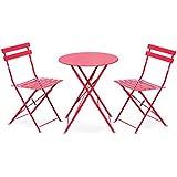 Alice's Garden - Salon de jardin bistrot pliable - Emilia rond rouge - Table ronde Ø60cm avec deux chaises pliantes, acier thermolaqué, chaises avec lames incurvées pour plus de confort
