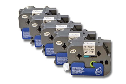 5x vhbw Kassette Patronen Schriftband 36mm für Brother P-Touch 3600, 550, 550A, 9200, 9200DX, 9200PC, 9500 wie TZ-261, TZE-261.