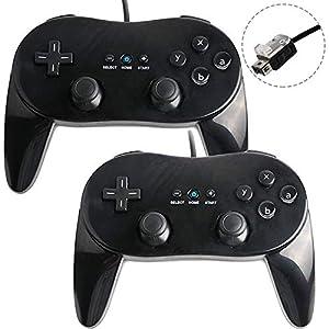 Flylinktech® – Joystick Gamepad Nintendo Wii Classic Griff 2x Classic Controller Pro GamePad für Nintendo Wii Schwarz