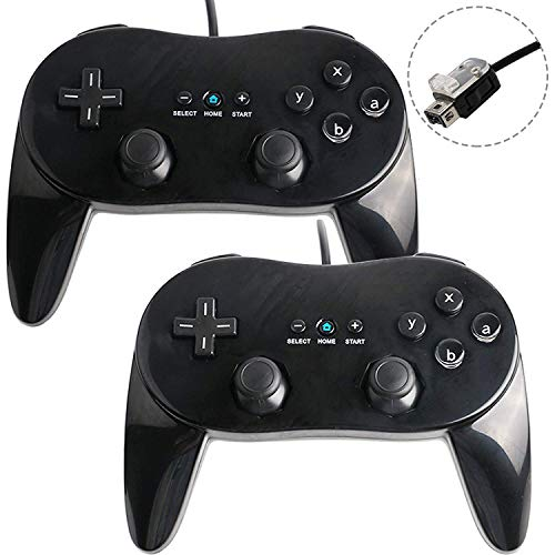 Flylinktech® - Joystick Gamepad Nintendo Wii Classic Griff 2x Classic Controller Pro GamePad für Nintendo Wii Schwarz