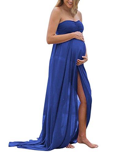 *KoJooin Damen Elagant Umstandskleid Off Schulter Chiffon Schwanger Fotografie Rock , Festlich Lange Schwangerschafts Kleider Blau M*