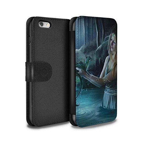 Officiel Elena Dudina Coque/Etui/Housse Cuir PU Case/Cover pour Apple iPhone 6 / Fille Rouge Design / Dragon Reptile Collection Eau/Bébé