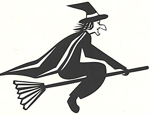 black decal vinyl flying witch car, boat, house decal stickers halloween special black witch