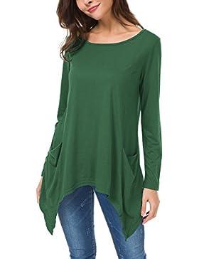 Urban GoCo Donna Casual Maglietta con Manica Lunga Tops Tunica T-Shirt con Tasche Plus Size