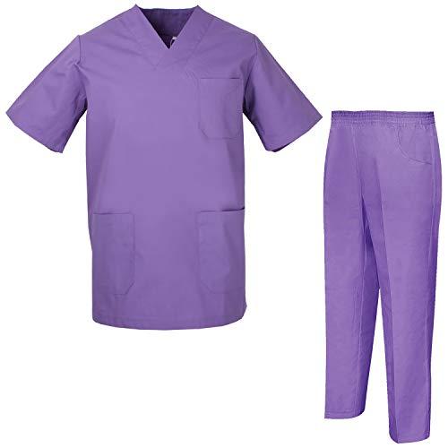 Misemiya - uniformi unisex set camice ? uniforme medica con maglia e pantaloni uniformi mediche camice uniformi sanitarie - ref.8178 - x-small, lilla