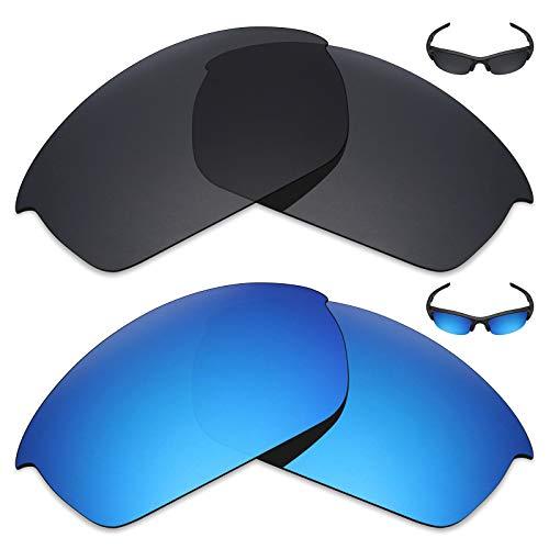 MRY 2Paar Polarisierte Ersatz-Gläser für Oakley Flak Jacket Sonnenbrille-Reiche Option Farben, Stealth Black & Ice Blue