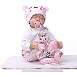 HshDUti 55cm Jouet de poupée renée Faite à la Main de bébé Imitation Vinyle Silicone réaliste White