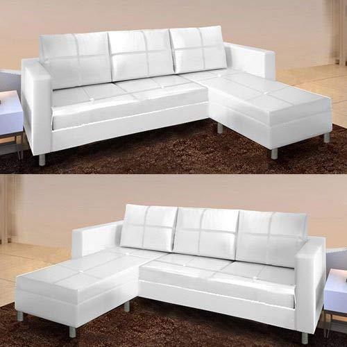 Gstore divano componibile angolare a 3 posti in ecopelle bianco e nero divanetto sofà (bianco)