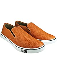 Howdy Tan Canvas Slip On Shoes For Men & Boys