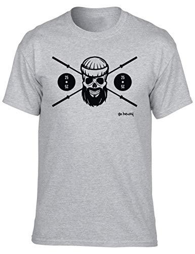 Go heavy t-shirt sportiva pesante da uomo | camicia da allenamento da uomo a maniche corte | barbell skull | grigio m