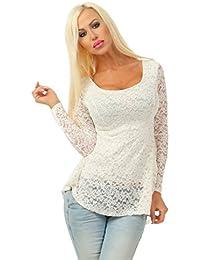 25635e263ba1fa 5252 Fashion4Young Damen Spitzen Bluse Langarm Vokuhila Shirt Blusenshirt  Rückenfrei Stretch