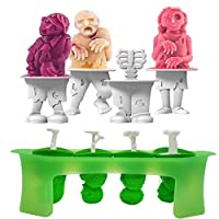 PMJAdd8s4 ☀Funny Zombie Ice Cream Mold Silicone Frozen Ice Cream Mold Juice Popsicle Maker Ice Cube Mould 4 Cell