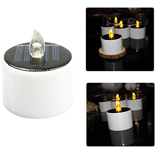 (Gotian Solar-LED-Teelichter, flammenlos, elektronisch, 5,2 x 5,8 cm, Weiß 1Stück)