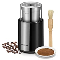 Aevobas Coffee Grinder Electric Bean Nut Seed Dry Spice Koffee Mill Grinders with Stainless Steel Blades Detachable Coffee Powder Bowl and Cleaning Brush 200W - Black