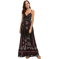 Urban GoCo Mujer Vestido Largo Maxi de Verano Elegante Boho Backless Sundress para Boda Playas Fiesta Noche (L, 1 Negro)