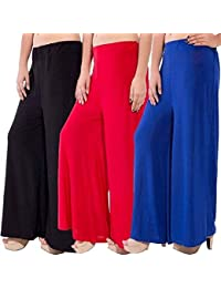 Pi World Plain Black,Blue and Red Palazzo