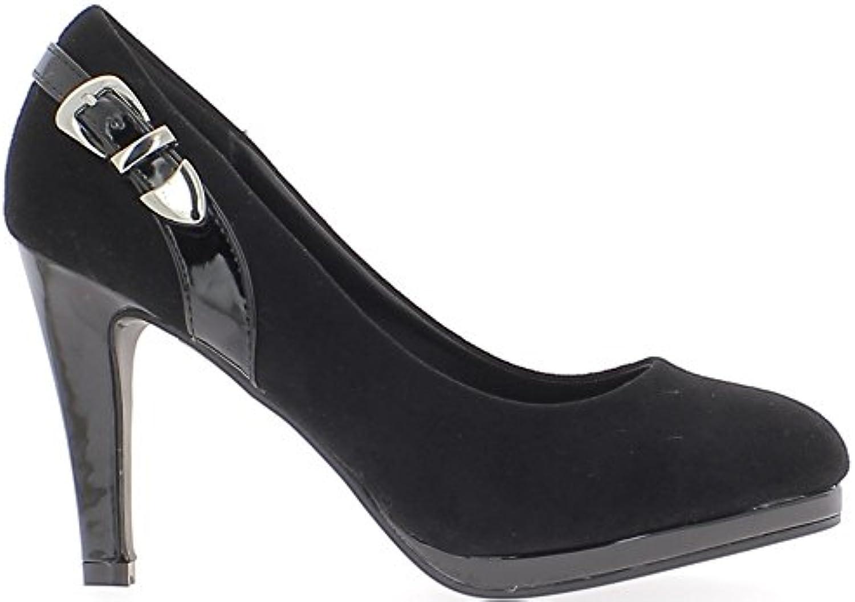 Final de Consejos Zapatos Mujer Negro 9.5 cm Talón Cojín Redondo Antes de Material bi -